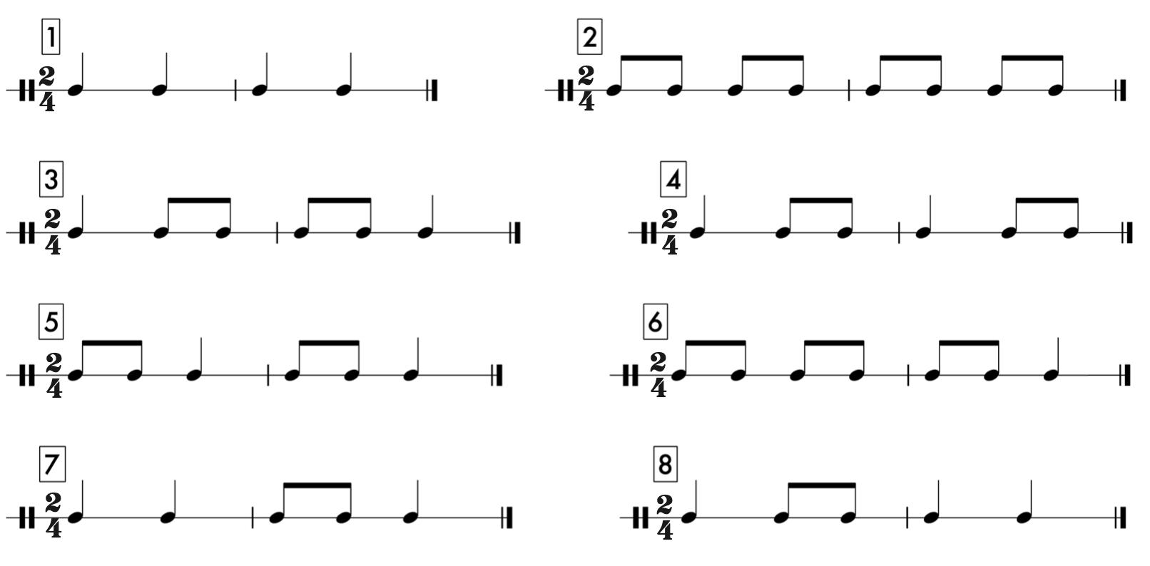24 Familiar Macro Micro Patterns - Rhythm Cells and Rhythm Patterns in 2/4